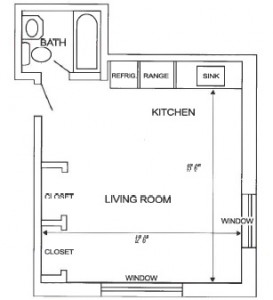 Corner Studio Floor Plan